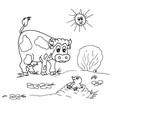 Kuh mit Maulwurf auf der Weide, für Kinder zum anmalen schwarz weiß gezeichnet