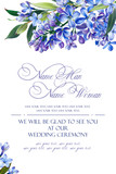 Template for congratulations or invitations to the wedding in blue colors. Illustration by markers, beautiful composition of lilac and leaves. Imitation of watercolor drawing. - 202175171
