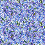 Seamless pattern, blooming blue lilac and green foliage. Illustration by markers, beautiful floral composition on a white background. Imitation of watercolor drawing. - 202175321