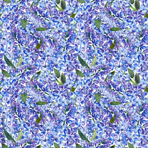 Seamless pattern, blooming blue lilac and green foliage. Illustration by markers, beautiful floral composition on a white background. Imitation of watercolor drawing.