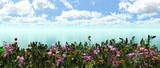 blooming meadow on the water, a spring clearing on the water,