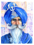 Watercolor portrait of a Sikh in a turban with a beard and mustache - 202186718