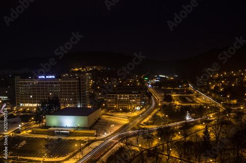 Plexiglas Nacht snelweg City Zlin, Czech republic, Europe