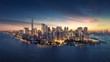 New York City panorama skyline at sunrise. Manhattan office buildings / skysrcapers at the morning. New York City panoramatic shot.