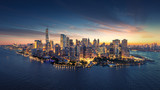 New York City panorama skyline at sunrise. Manhattan office buildings / skysrcapers at the morning. New York City panoramatic shot. poster