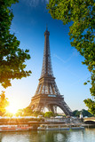 Paris Eiffel Tower at beautiful sunny day. Romantic peaceful atmosphere - 202193502