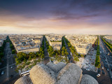 Paris Cityscape taken from Arc de Triomphe with streets, cars and buildings in the front. - 202193572