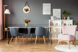 Pink and grey dining room - 202193981