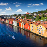 Cityscape of Trondheim, Norway river building on wood - 202194144