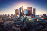 Sunset over Los Angeles downtown. Retro colors. California theme. LA background. Los Angeles city center. - 202194786