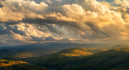 North Carolina Blue Ridge Mountains in Autumn Golden Hour