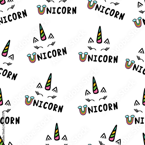 Materiał do szycia Caticorn and unicorn seamless pattern isolated on white background.