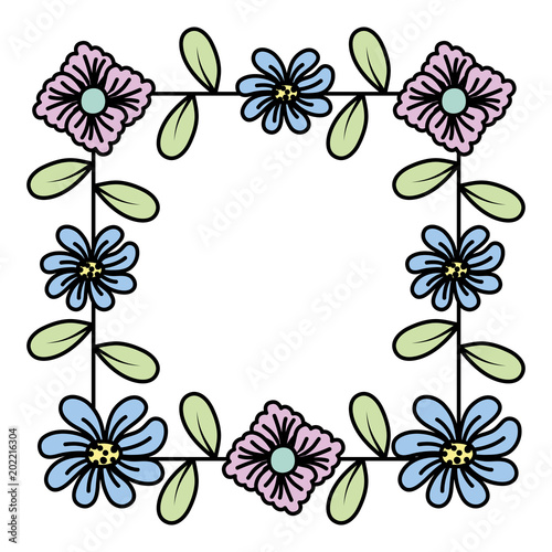 color nature flower with petals and leaves decoration