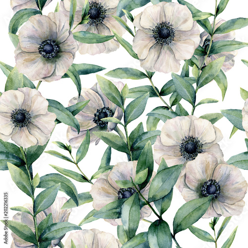 Watercolor seamless pattern with classic anemone. Hand painted white flower abd eucalyptus leaves isolated on white background. Illustration for design, fabric, print or background. - 202216335