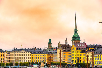 Aerial panorama of the Old Town (Gamla Stan) with colorful buildings  in Stockholm, Sweden