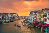 view of Gondola  Canal Grande   at sunset in Venice, Italy- Long Exposure Photo.