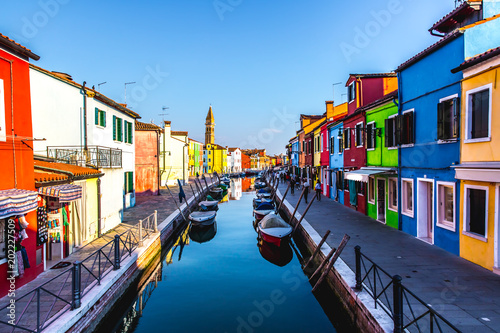 Fototapeta Burano, Venice island, colorful houses and town in Italy