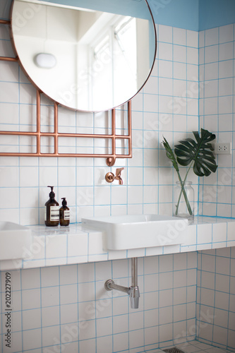 Cozy Wash Basin Corner With White Tile And Turquoise Grout On The