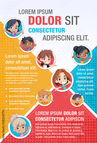 Template for advertising brochure with cute cartoon kids   - 202236779