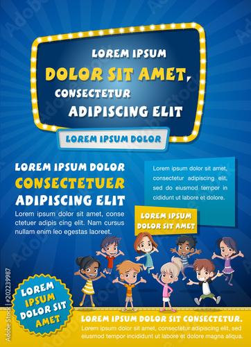 Poster template design with happy cartoon children.