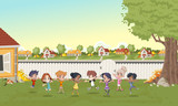 Cartoon kids playing in suburb neighborhood. Green park landscape with grass, trees, and houses.