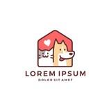 dog cat pet house home love logo vector icon line art outline - 202242387