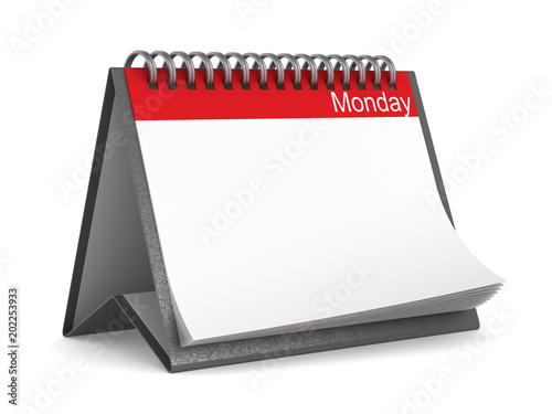Calendar for monday on white background. Isolated 3D illustration