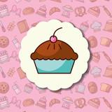 tasty pie cake label dessert bakery background vector illustration - 202259751