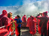 Niagara, Canada - 07 Sep, 2014: Tourist people on voyage boat tour to the falls, pov