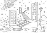 Doors space landscape graphic black white sketch illustration vector - 202279972