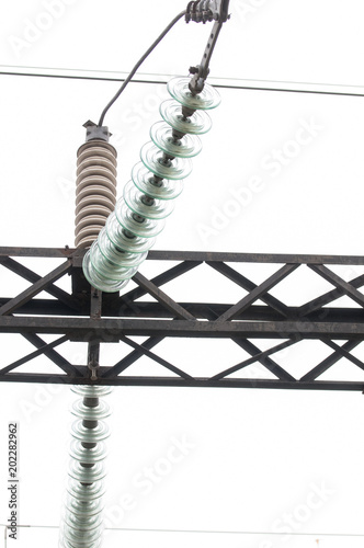 High-voltage electrical insulator electric line | Buy Photos | AP