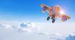 Cartoon airplane flying above clouds, 3D rendering
