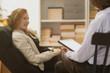 Leinwanddruck Bild - Woman during psychotherapy
