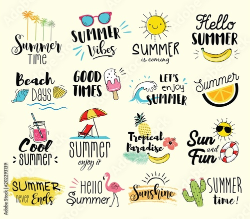 Summer labels, logos, hand drawn tags and elements set for summer holiday, travel, beach vacation, sun. Vector illustration.  - 202293139