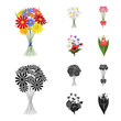 A bouquet of fresh flowers cartoon,black icons in set collection for design. Various bouquets vector symbol stock web illustration.