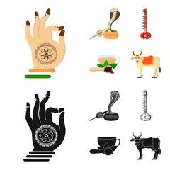 Country India cartoon,black icons in set collection for design.India and landmark vector symbol stock web illustration.
