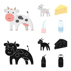 Goat, a piece of cheese and other products. Milk set collection icons in cartoon,black style vector symbol stock illustration web.