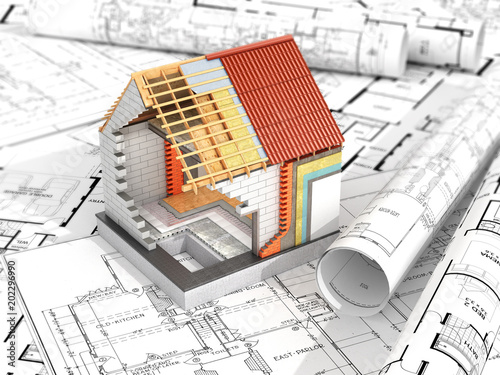 layout of the house on top of architectural drawings. Thermal insulation. 3d illustration