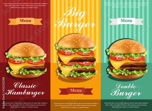 Aluminium Vintage Poster Hamburger retro menu Vector. detailed template lay out product designs
