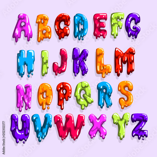 Bright Colored Latin Alphabet Made Of Sweet Jelly Or Jam English Letters From A