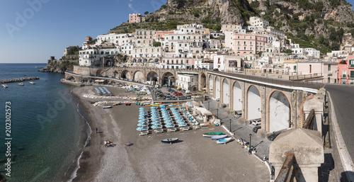 Plexiglas Napels Amalfi, Amalfitana, Amalfiküste, Küste, Neapel, Capri, Italien, Meer, Wasser, Häuser