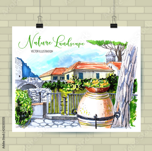 Plexiglas Beige Rural landscape in Italy with country house and vase with flowers.
