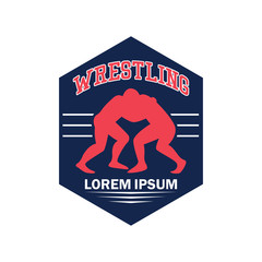 wrestling logo with text space for your slogan / tag line, vector illustration