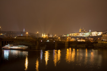 St Vitus Cathedral view over Vltava river & Charles Bridge. Cityscape