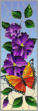 Illustration in stained glass style with bright butterfly against the sky, foliage and flowers,on sky background, vertical orientation