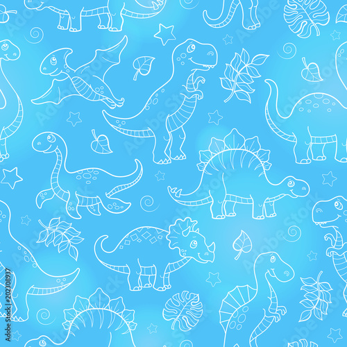 Cotton fabric Seamless pattern with dinosaurs and leaves, contoured animals on blue background