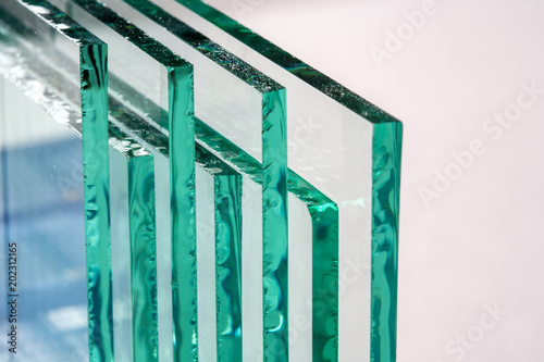Foto Murales Sheets of Factory manufacturing tempered clear float glass panels cut to size