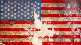 grungy american flag on weathered wall - 202313390