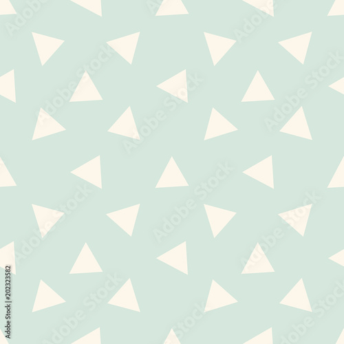 Seamless triangular abstract background. Infinity mint and beige geometric pattern. Triangular background. Vector illustration.