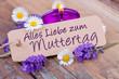 Quadro Alles Liebe zum Muttertag  -- Lavendel, Blüten und Kerze auf Holz